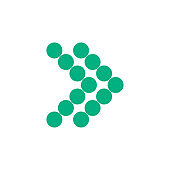 Modern green dotted arrow, great design for any purposes. Art vector illustration. Simple isolated pictogram.