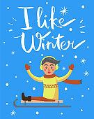 I Like Winter Boy on Sled Vector Illustration