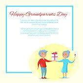 Happy Grandparents Day Senior Couple Give Present