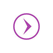 Modern purple arrow, great design for any purposes. Art vector illustration. Simple isolated pictogram.