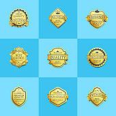 Set of Premium Quality Best Gold Labels Guarantee