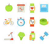 Wristwatch and Apple Fruit Set Vector Illustration
