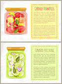 Canned Tomatoes and Zucchini Vector Illustration