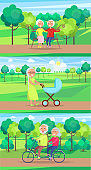 Mature People Together Grandparents Sit Ride Walk