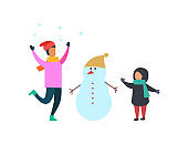 Winter Activities of Family Mother and Kid Vector