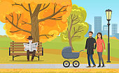 Autumn Park, Parents with Pram and Elderly Man