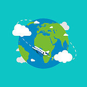 Earth globe with plane. Earth in flat style. Plane flying. Earth. Vector