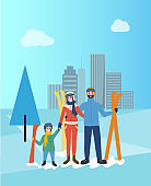 Family Skiing Together, Father and Mother with Kid