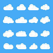 Cloud cartoon. Set of different cartoon clouds. Clouds on a isolated blue background. Vector