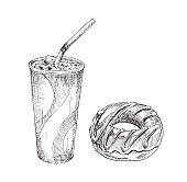 Cola paper cup, dessert vector monochrome sketch