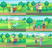 Mature People Together Grandparents Sit Ride Walk
