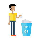 Man Throw the Paper into Blue Recycle Garbage Bin