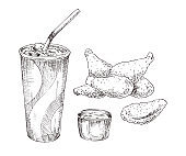 Cola paper cup with chicken wings monochrome icon