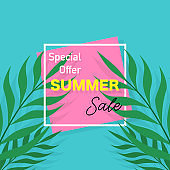 Summer sale banner. Poster with palm leaves. Tropical background. Vector