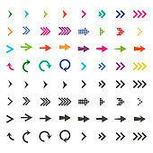 Arrows set. Arrow icon. Arrow black colored and colorful. vector icon. Arrow. Arrows vector collection. Vector