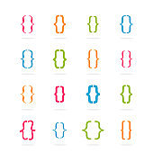 Bracket curly. Set of bracket form with various colors. Vector