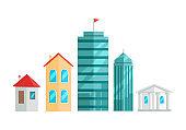 City Buildings Vector Illustration In Flat Design.