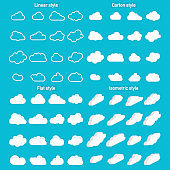 Set of Cloud Icons in trendy in 4 styles. Clouds in flat and carton and isometric, linear style. Cloud on isolated background. Vector