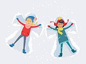Best Friends. Girls Make Snow Angels Illustration
