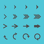 Set with different arrows icon, vector illustration