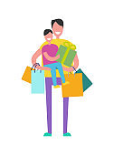 Father and Son Shopping on Vector Illustration