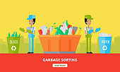 Garbage Sorting Banner. Men Sort Glass and Paper.