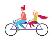 Mother and Daughter Riding Bicycle Illustration
