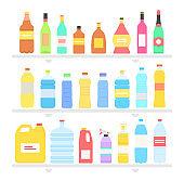 Bottle Set Design Flat Oil and Beverage