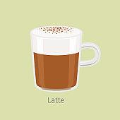 Glass Mug with Aromatic Latte Flat Vector