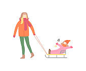 Woman Walking with Little Girl on Sleigh Vector