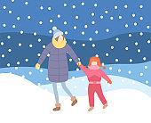 Mother Kid Walking in Evening Blizzard Wintertime