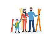 Family Skiing, Mother Father Parents and Child
