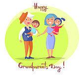 Happy Grandparents Day Senior Couple with Children