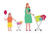 Mother and Daughter Doing Shopping Illustration