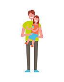 Dad Holding Daughter on Hands Vector Illustration