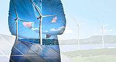 Wind turbine double exposure graphic interface.