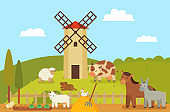 Windmill and Farm Landscape Vector Illustration