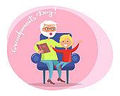 Grandparent Day Grandpa Reading to Grandson Vector