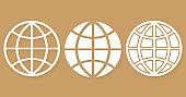 Set different icons world globe with shadow stylish design