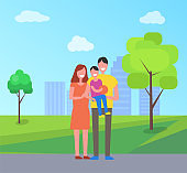 Parents and Son on Fathers Hands, City Park Vector