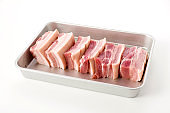 fresh Pork belly on a Aluminum tray on white background.