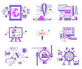 Set of Web Icons Sign Symbols in Flat Style Vector
