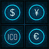Ico and Dollar Euro and Yen Currency Set Vector