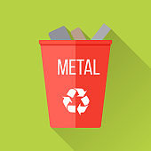 Red Recycle Garbage Bin with Metal
