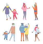 Set of Standing People in Warm Clothes Vector
