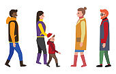 People Dressed in Warm Clothes Vector Illustration