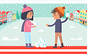 Boy and Girl Snowball Fight Vector Illustration