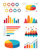 Set of Pie Charts and Bar Graphs for Infographic