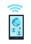 Mobile Phone with Wireless Sign Icon Isolated
