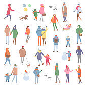 Winter and Autumn Warm Clothes, People Walking
